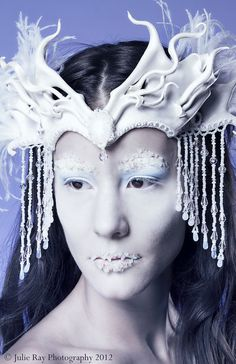Custom Leather Headdress with Beaded Jewels and Veil  by beadmask, $325.00