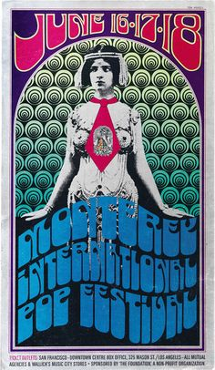 "The Monterey International Pop Music Festival was a 3-day concert,  June 16-18, 1967, Monterey, California. The first widely promoted & heavily attended rock festival, with up to 90,000 people, it was the first major American appearances by Jimi Hendrix, The Who & Ravi Shankar, the first major public performance of Janis Joplin, & the introduction to a large, predominantly white audience of Otis Redding. The documentary film ""Monterey Pop"" was released in 1968."