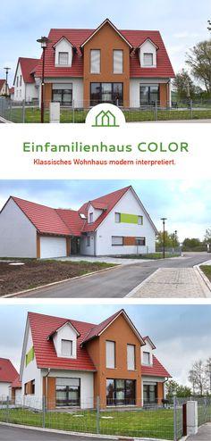 Doppelgarage satteldach modern  Wohnhaus mit Doppelgarage und farbiger Putzfassade ...
