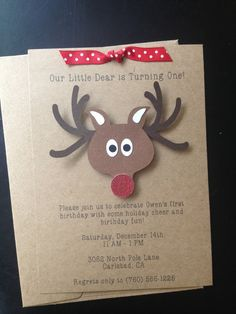 Reindeer Handmade Invitations, Custom Made for Birthday Party, Christmas Party, or Baby Shower on Kraft Paper, Set of 8 Invites