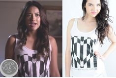 Emily's white tank top with black striped heart graphic on Pretty Little Liars Pretty Little Liars Outfits, Pretty Little Liars Seasons, Fashion Tv, Fashion Outfits, Rebel Outfit, Pll Outfits, Black And White Heart, Cutout Dress, White Tank
