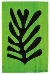 """Matisse, Hoja negra en fondo verde (1952) """"Papel decoupage"""""""