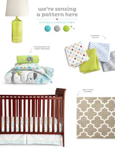 Baby Calvin has both the Circo Trunks of Love crib bedding set and the lamp (scored them both from Target)