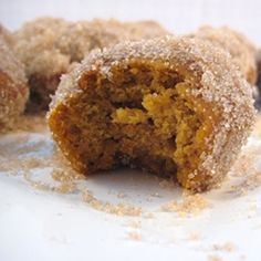 Delicious seasonal spiced pumpkin Doughnut holes – but without the scariness of deep-frying because they're baked!