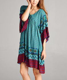 Blue & Burgundy Geometric V-Neck Tunic Dress