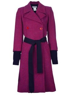Pink wool coat from Sonia By Sonia Rykiel featuring notched lapels, a double-breasted front button fastening, contrast belt at the waist, two front welt pockets and long sleeves with contrast knitted cuffs. Pink Wool Coat, Purple Coat, Purple And Black, Couture Coats, Pony Hair, Double Breasted Coat, Sonia Rykiel, My Wardrobe, Cool Outfits