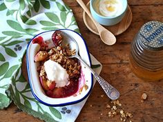 ... raspberry crumble - from low GI newsletter. Versatile crumble topping