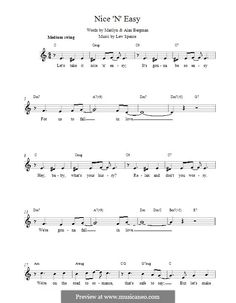 """Lew Spence's """"Nice 'N' Easy"""" (melody line, lyrics and chords)"""