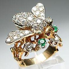 Diamond and emerald bee ring
