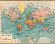 Large World Map Vintage 1929 North and South Pole