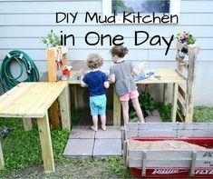 Garden Bench Plans Pdf Beautiful Diy Mud Kitchen In E Weekend Diy Mud Kitchen, Mud Kitchen For Kids, Kitchen In, Kitchen Ideas, Outdoor Play Kitchen, Outdoor Kitchens, Kitchen Decor, Kitchen Design, Backyard Playground