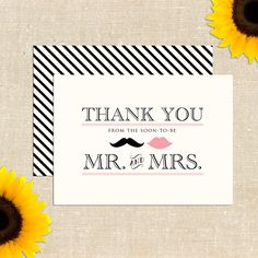 Vintage Mr. and Mrs. Thank You Cards DIY PRINTABLE via Etsy