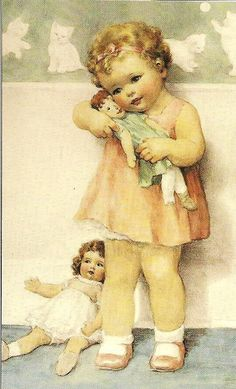 Bessie Pease Gutmann Child loving on her baby dolly Vintage Greeting Cards, Vintage Ephemera, Vintage Postcards, Vintage Pictures, Baby Pictures, Vintage Images, Baby Images, Posters Vintage, Vintage Prints