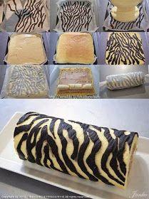 How to make a Zebra Cake Roll - Tutorial, animal print, zebra, rocambole zebra, brazo de gitano Swiss Roll Cakes, Zebra Cakes, Cake Recipes, Dessert Recipes, Decoration Patisserie, Cake Decorating Tutorials, Decorating Supplies, Food Cakes, Cake Tutorial