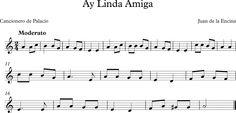 Descubriendo la Música. Partituras para Flauta Dulce : Ay, Linda Amiga