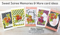 Stampin' Up! Sale-a-Bration Sweet Soiree Memories & More note cards featuring Petal Palette flower stamp colored with Watercolor Pencils by Patty Bennett