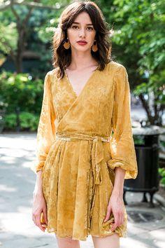 NWT Yumi Kim Royalty Velvet wrap Dress in gold Maxi Wrap Dress, Dress Skirt, Gold Velvet Dress, Gold Bridesmaids, Prom Dress Shopping, Velvet Tops, Looking For Women, Prom Dresses, Royalty