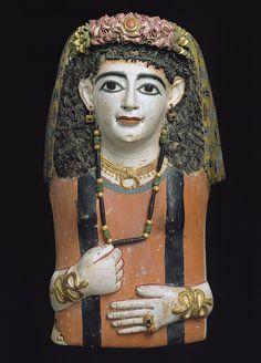 Egyptian mummy mask, Roman period, 1st century AD
