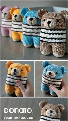 Tiny Teddy Crochet Pattern Watch The Video Tutorial The Sweetest Tiny Teddy Crochet Pattern Collection Knitted Teddy Bear, Crochet Teddy, Crochet Bear, Cute Crochet, Crochet Toys Patterns, Stuffed Toys Patterns, Crochet Hood, Tiny Teddies, Easy Crochet Projects