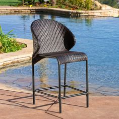 Oyster Bay Outdoor Wicker Counter Stool (Set of 4) by Christopher Knight Home (Brown), Patio Furniture (Iron)