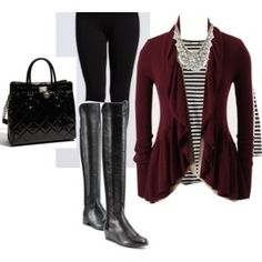 burgundy and black outfit