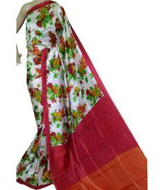 Off White Handloom Pure Murshidabad Silk Saree