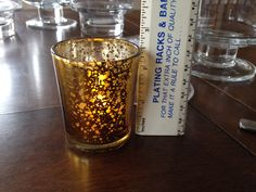 2 1/2 inch gold mercury votive with submersible led votive  candle