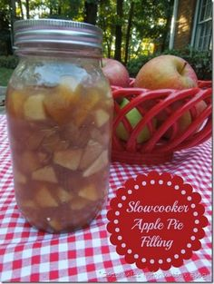 Make Apple Pie filling in your slowcooker to use in all your fall recipes. It's so easy and less mess. Miss Information Blog #apple #recipes...