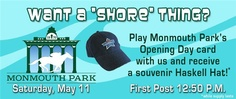 Play Monmouth Park's opening day card on Saturday to get a souvenir #Haskell hat! #Wager & #win with Dark Horse Bet!