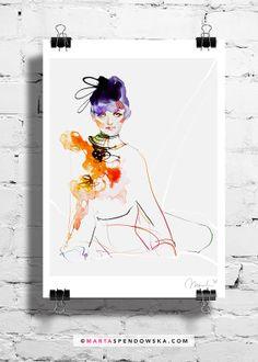 Illustration Fashion Watercolor Portrait art by martaspendowska, $26.00