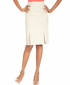 Le Suit Skirt, Washable Pleated-Hem Pencil