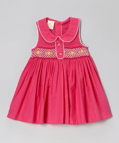 This the Silly Sissy Hot Pink Rose Peter Pan Smocked Dress - Infant by the Silly Sissy is perfect! #zulilyfinds