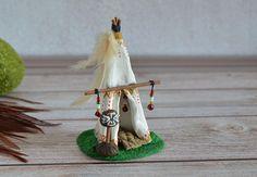 Tepee miniature Fairy house polymer clay Native American