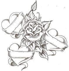 Realistic sketch of rose and Hearts printable coloring page for adults