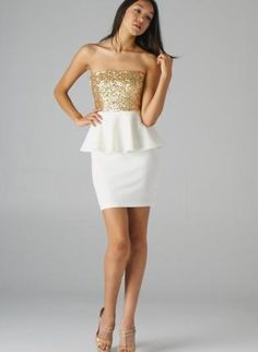 Cream Strapless Peplum Dress with Gold Sequin Top,  Dress, sequin dress  peplum dress, Chic