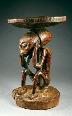 Africa | Stool from the Chokwe people of Angola | Wood, with reddish brown patina