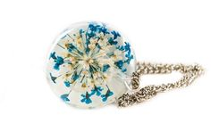 blue resin necklace real flower necklace by NThandmadeJewelry, $21.99