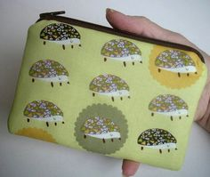 Hedgie Zipper Pouch ECO Friendly Padded Little Zippered Bag by JPATPURSES, $8.00