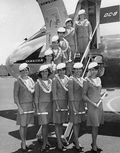 This is the Summer 1967 class of flight attendants at Hawaiian Airlines: (standing, from left) Betty Ann Barnett, Robin Reynolds, Angeline Dickson, Mary Ann Ke'o, and Nellwyn Lum; (on ramp, from bottom) Beatrice Marn, Myrna Keamo, Ellen Asano, Dianna Yang, and Judith Ann Hewitt.