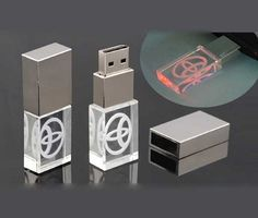 """The Light Up USB is one of our most unique and popular USB's. Your logo is engraved """"in"""" the glass and lights up when you plug the USB into a USB port. #brandability #corporategift #usb"""