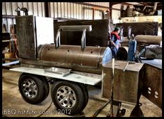 The BBQ institutes new mobile class room.  A new Gator Pit BBQ smoker under construction in Houston.   Replacing our current GatorPit.  Done as a painting in Photoshop.