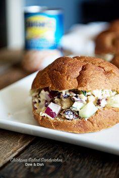 Chickpea Salad Sandwich Recipe on dineanddish.net