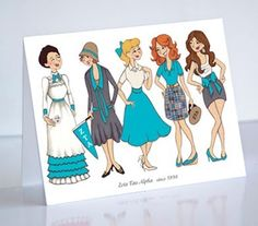 """Sorority Girl Store - """"Decades"""" Note Cards.  Celebrate the heritage of your fraternity with this adorable design."""