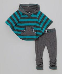 Heather Gray & Blue Stripe Poncho & Leggings - Toddler & Girls   Para Irene, con tela de forro polar y algo de pasamanería ;)