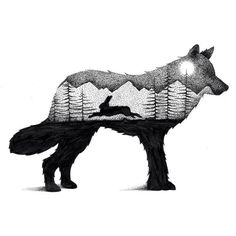 Illustrator and graphic designer Thiago Bianchini reveals a deep reverence for the mystical majesty of the animal kingdom in thousands of intricate ink markings. Inspired by double exposure Lapin Art, Pencil Drawings Of Animals, Drawing Animals, Fox Drawing, Nature Drawing, Animal Silhouette, Silhouette Drawings, Silhouette Images, Rabbit Art
