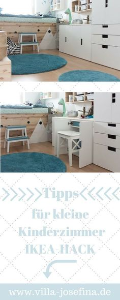 Order in the nursery- Ordnung im Kinderzimmer Ideas for small children& rooms, integrated desk. IKEA-HACK in the nursery. STUVA furniture with Schreibitsch. TROFAST chest of drawers, selfmade loft bed. Scandi style, small nursery set up -