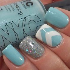 Mint green  silver chevron striped nails. Why keep every nail the same? mix it up! add some personality!