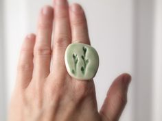 Grace - A Sweet Porcelain Ring with Impression of Weeping Cherry.  peifferStudios  $29