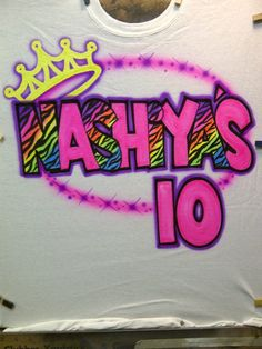 Airbrush Birthday Zebra Name Age Crown