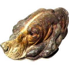 Vintage 1920's Rare French Country Large Cold Painted Iron Spaniel Dog Paper Letter Memo Desk Spring Clip Note Holder